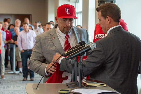 Matt Deggs is introduced on July 18 as UL's new head baseball coach.