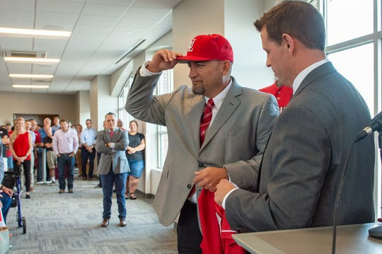 Former UL assistant coach Matt Deggs tips his cap as he is introduced Thursday as the Ragin' Cajuns new head baseball coach, succeeding the late Tony Robichaux.