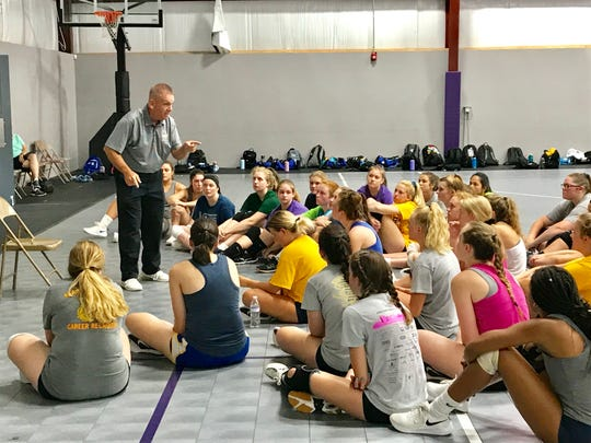Former Lancaster and current West Virginia State University volleyball coach Kris Kern was the guest speaker during the Lady Gales Volleyball Camp on Wednesday.