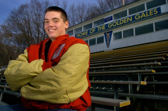 OSU player, Jim Cordle, poses for a photo at Lancaster High School in 2007
