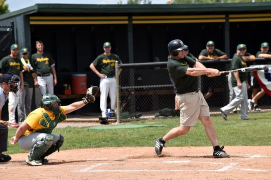 Brent Earl, a 1985 graduate, connects with a pitch in a Howell alumni baseball game.