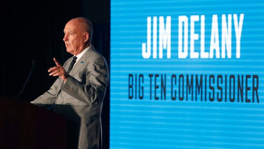 Bit Ten Commissioner Jim Delany responds to a question during the Big Ten Conference NCAA college football media days Thursday, July 18, 2019, in Chicago. (AP Photo/Charles Rex Arbogast)