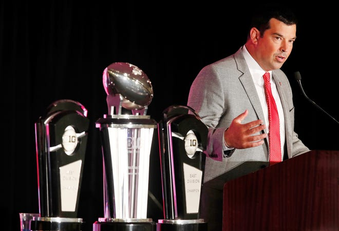 Ohio State coach Ryan Day talks about his Buckeyes during Big Ten Football Media Days in Chicago.
