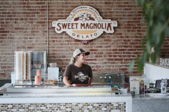 General Manager Emily Rodriguez at Sweet Magnolia Gelato inside the Puck Food Hall on Thursday, July 18, 2019.