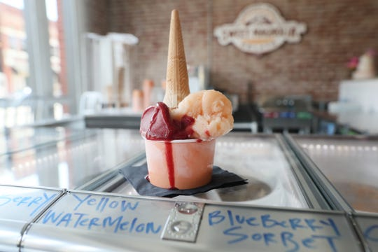 A serving of cantaloupe and blueberry sorbet at Sweet Magnolia Gelato inside the Puck Food Hall on Thursday, July 18, 2019.