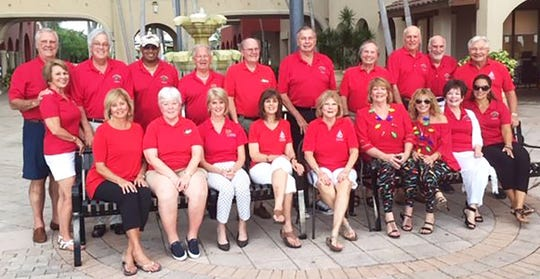 From left, front: Mary Vertin, Debbie Roddy, Jacki Strategos, Carla Mickes, Linda Turner,  Jeanne Rice, Judy Sacher, Rosemary Wick and Kristina Lambros; back: Barbara Dameron, Keith Dameron, Marc Creach, Richard Droste, Marty Roddy, Dave Rice, Mike Mickes, Bruce Robertson, Larry Sacher and Jerry Swiacki.