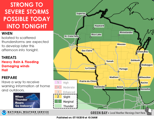 Much of the state is under a risk for severe thunderstorms Thursday afternoon and Thursday night.