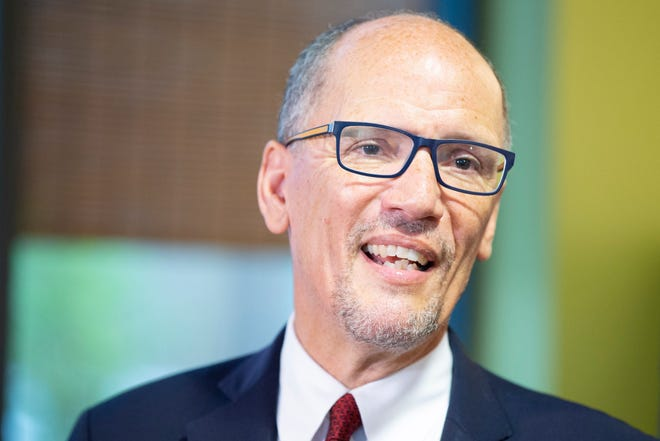 Democratic National Committee Chair Tom Perez spoke Friday during a news conference at Clock Shadow Creamery.