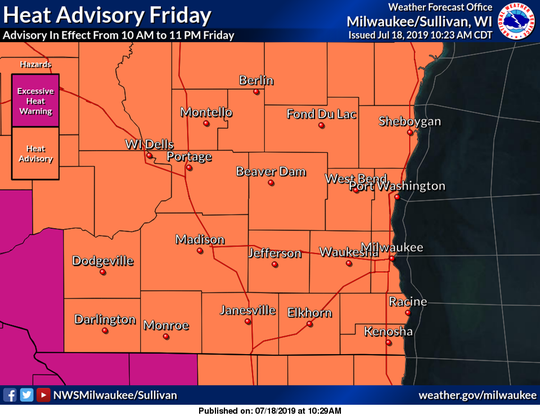 A heat advisory now takes effect on Friday.