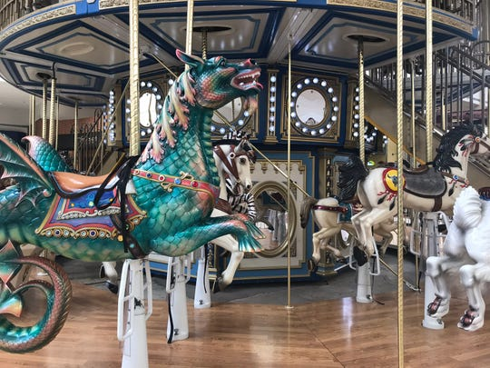 A carousel horse at the Fun Brands carousel in Pecanland Mall.