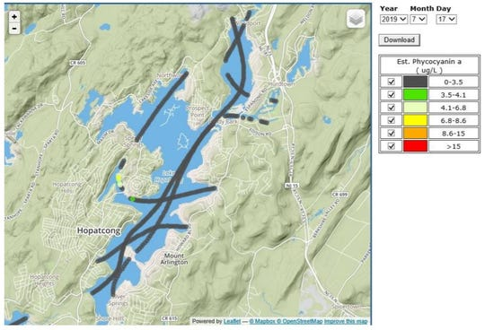 Graphic map image representing the progress of a harmful algal bloom at Lake Hopatcong. This image from July 17, 2019, shows grey lines replacing colored lines that previously showed higher levels of the bloom.