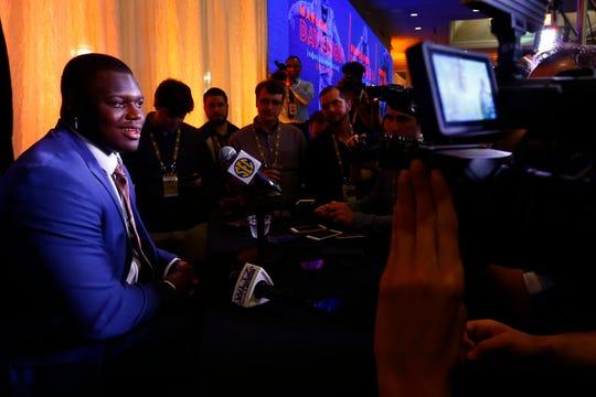 Auburn defensive end Marlon Davidson speaks to reporters during SEC Media Days on Thursday, July 18, 2019, in Hoover, Ala.