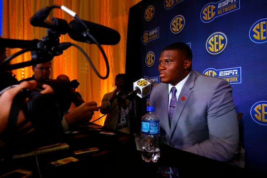 Auburn defensive tackle Derrick Brown speaks at SEC Media Days on Thursday, July 18, 2019, in Hoover, Ala.