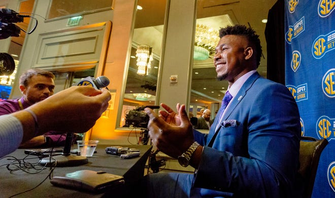Auburn offensive lineman Prince Tega Wanogho speaks at SEC Media Days on July 18, 2019, in Hoover, Ala.