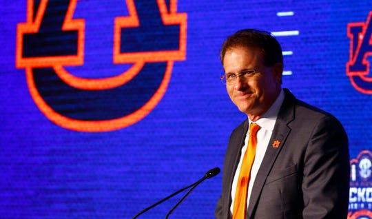 Auburn head coach Gus Malzahn speaks at SEC Media Days on July 18, 2019, in Hoover, Ala.