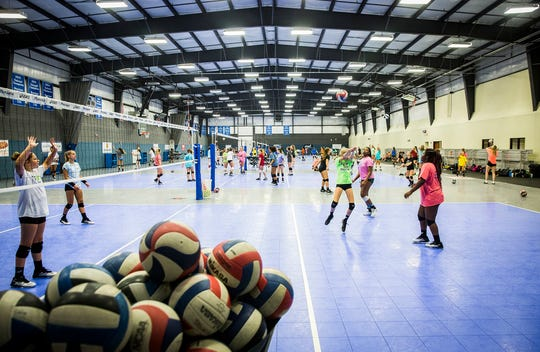 Munciana volleyball players practice during a past summer camp at the Yorktown Sports Park. Practices this summer will be limited to fewer players at once because of concerns over COVID-19.