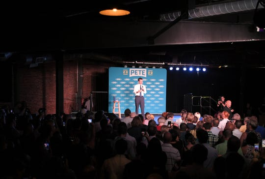 Democratic presidential candidate Pete Buttigieg holds a rally at the Cannery Ballroom in Nashville Wednesday, July 17, 2019.