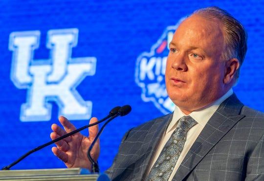 Kentucky Wildcats head coach Mark Stoops speaks to the media during SEC Media Days at the Hyatt Regency-Birmingham.