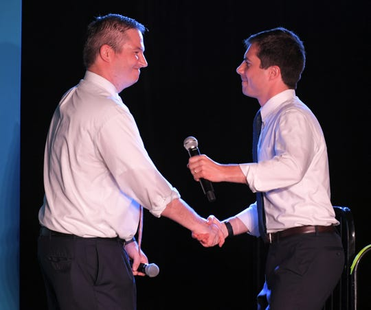 State Sen. Jeff Yarbro shakes hands with Democratic presidential candidate Pete Buttigieg during a rally at the Cannery Ballroom in  Nashville Wednesday, July 17, 2019.