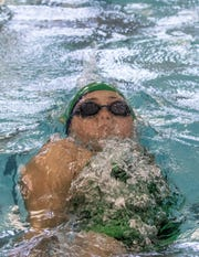 Joanna Hildenbrand swims the backstroke for the Valley View Gators during the 2019 Tri-County Aquatic League championships. The 2020 TCAL season has been canceled as the status of swimming this summer remains uncertain because of the coronavirus pandemic.