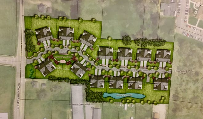 """If eventually approved, as presently envisioned, the 26 unit """"empty nester"""" community would be located off Cherry Valley road with an entryway aligning with Galway Drive."""