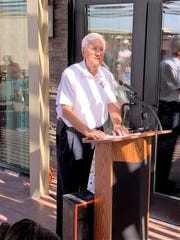 Former New Mexico Governor and NMSU Chancellor Garrey Carruthers speaks at the grand opening ceremony for the Las Cruces Courtyard by Marriott hotel on E. University Avenue on Thursday, July 18, 2019.