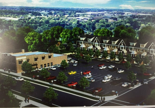 A rendering of the proposed project for the current Saxton's property in downtown Plymouth looking southeast from Kellogg Park.