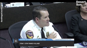 San Diego Unit CAL FIRE Chief Tony Mecham says Chula Vista fires stopped the Harris Fire in 2007 at a board of supervisors meeting on June 26, 2019.