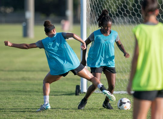 The Pensacola FC Women team practices at Ashton Brosnaham Soccer Complex in Pensacola on Wednesday, July 17, 2019.  This is their final training session prior to WPSL Championships in Oklahoma this weekend.