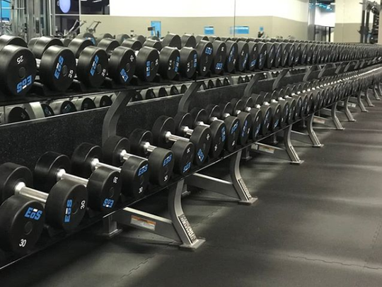 A rack of weights at the EOS Fitness in Phoenix.