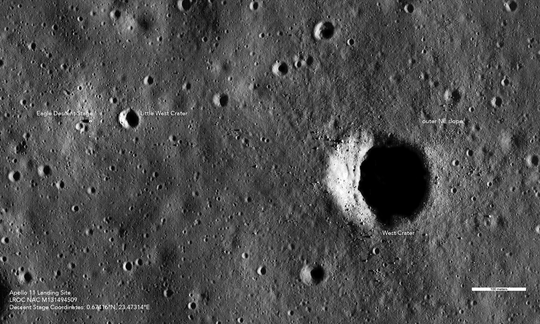 This image taken by the Lunar Reconnaissance Orbiter Camera shows In this image, the Lunar Module descent stage and tracks on the moon left by astronauts.