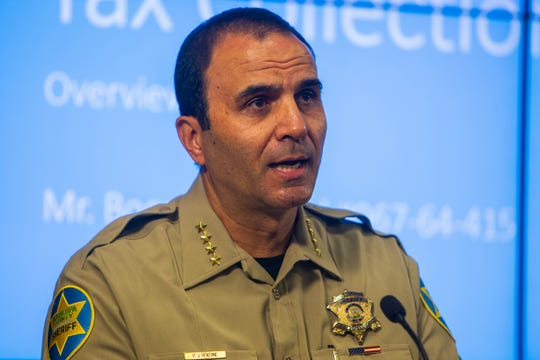 Maricopa County Sheriff Paul Penzone holds a press conference on July 17, 2019, in Downtown Phoenix discussing the seizure of disabled veteran Jim Boerner's mobile home.