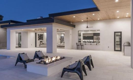The Paradise Valley mansion purchased by Cody Alt features covered patios with wood inlay ceilings.