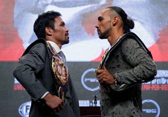 Manny Pacquiao (izq.) y Keith Thurman se vieron las caras en conferencia de prensa.