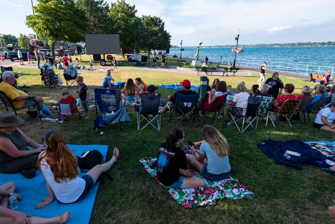 People fill Palmer Park in St. Clair on Family Fun Night Thursday, July 18, 2019, in memory of Riley Gleason. Gleason, 21, went missing in the St. Clair River last Friday night.