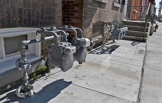 York City residents say new gas meters, like these in the 200 block of East King Street, are an eyesore, Thursday, July 18, 2019.