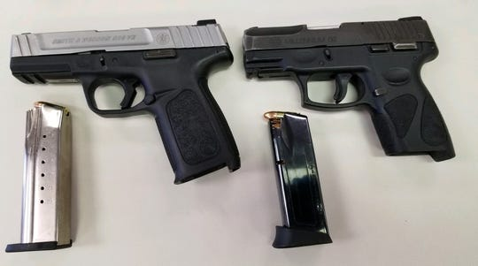 Police said guns were seized when authorities executed search warrants after Khalic Cross allegedly shot a woman in York City Sunday morning. Photo courtesy of York City Police.