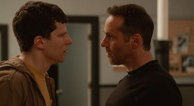 """Alessandro Nivola, right, and Jesse Eisenberg star in """"The Art of Self-Defense.""""  The movie is playing at R/C Hanover Movies."""
