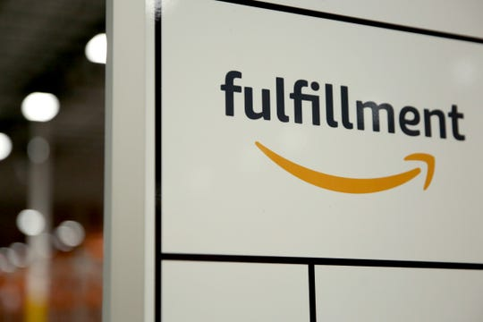 An Amazon fulfillment center sign is seen in Salem, Oregon.
