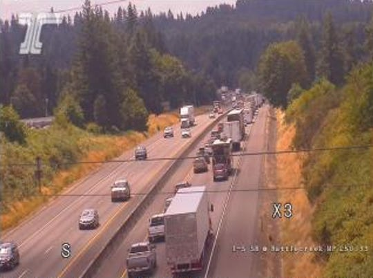 Traffic backed up on Interstate 5 at Battlecreek Road at 1 p.m.