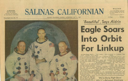 """Eagle Soars Into Orbit For Linkup"" read the Salinas Californian headline on July 21, 1969."