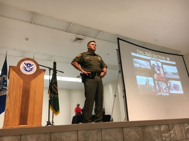 Del Rio Sector Chief Patrol Agent Raul L. Ortiz listens to question posed by a member of the audience during a State of the Border address in Del Rio. July 18, 2019.