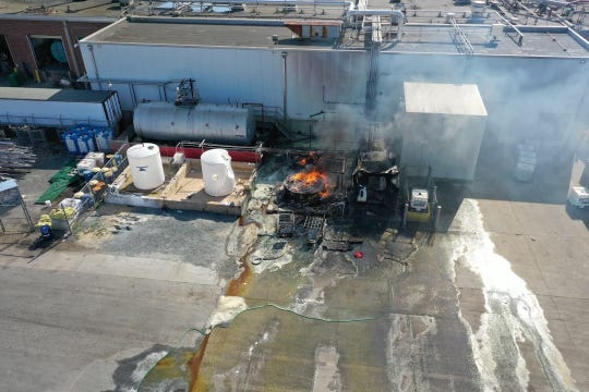 A still from the Accomack County drone taken during a chemical fire at the Perdue processing facility in Accomac, Virginia. Drone footage assisted hazardous materials professionals and firefighters in their risk assessment of the scene.