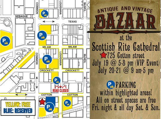 Parking map for the 2019 Antique and Vintage Bazaar at the Scottish Rite Cathedral.