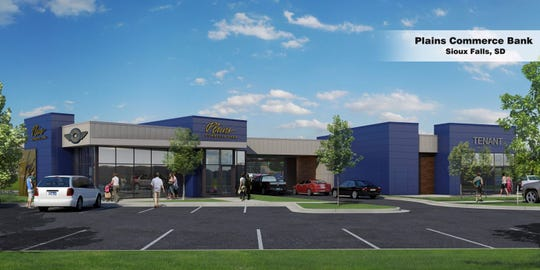A rendering shows plans for the new Plains Commerce Bank branch location planned for the intersection of Sycamore Avenue and 57th Street.