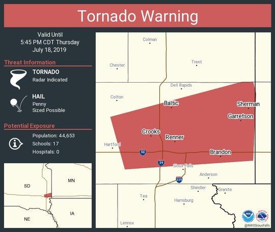 Minnehaha tornado warning