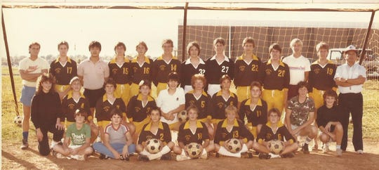 The 1984 soccer team at Kickapoo High School. Jose Domingo Florez, far right, was the first varsity coach.