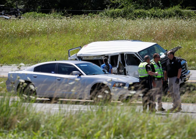 Emergency crews work the scene of a fatal traffic crash on Interstate 44 on Thursday, July 18, 2019 in Springfield, Mo.
