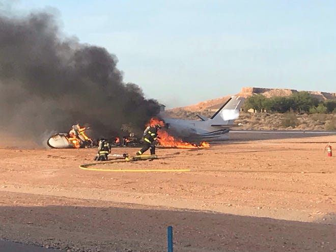 Mesquite officials responded late Wednesday to a plane engulfed in flames after it crashed at the city's municipal airport.