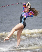 Molly Schaefer competes in the swivel competition during the Wisconsin State Water Ski Show Championships on July 18, 2019, at Lake Wazeecha in Kellner. Schaefer will compete next month in the World Ski Show Tournament in Australia.